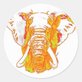 Pop Art African Elephant Round Sticker