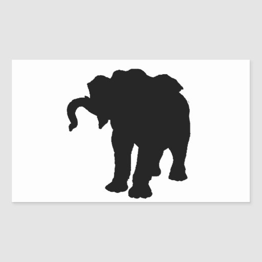 Pop Art Baby Elephant Silhouette Rectangle Stickers