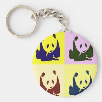 Pop Art Baby Pandas Basic Round Button Key Ring