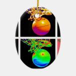 Pop Art Basketball Ceramic Oval Decoration