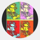 Pop-art Beethoven Round Sticker