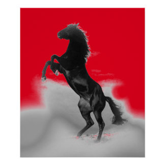 Pop Art Black Red Grey Rearing Horse Poster