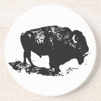 Pop Art Black White Buffalo Bison Silhouette Coaster