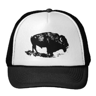 Pop Art Black White Buffalo Bison Silhouette Hats