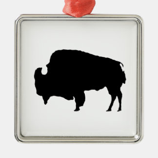 Pop Art Black & White Buffalo Silhouette Silver-Colored Square Decoration