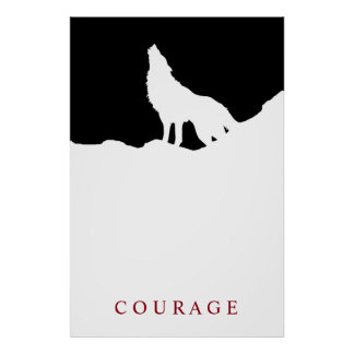 Pop Art Black & White Motivational Courage Wolf Poster