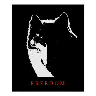 Pop Art Black White Motivational Wolf Poster Print