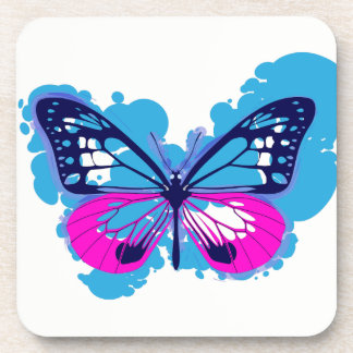 Pop Art Blue Butterfly Coasters