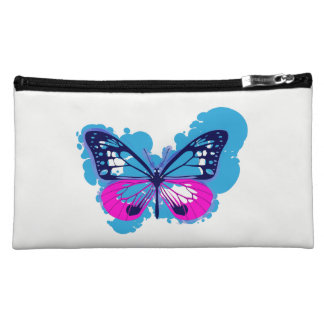 Pop Art Blue Butterfly Cosmetics Bag Cosmetic Bags