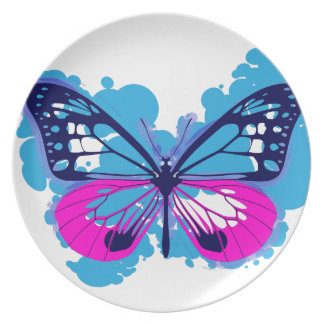 Pop Art Blue Butterfly Plate