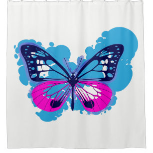 Pop Art Blue Butterfly Shower Curtain
