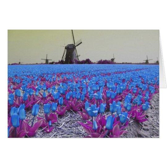 Pop Art Blue Tulips Card