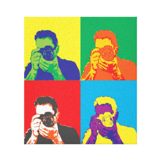 Pop Art Bright Colours Photographer Camera Decor Gallery Wrapped Canvas