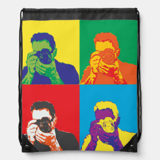 Pop Art Bright Colours Photographer Camera Drawstring Bag