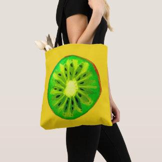 Pop art bright kiwi fruit original watercolour tote bag