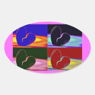 Pop Art Broken Heart Oval Sticker