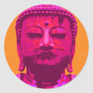 Pop Art Buddha Pink and Orange Classic Round Sticker