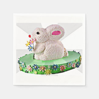 Pop Art Bunny Cake Disposable Napkin