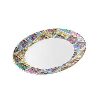POP ART BURGER (Hamburger) Porcelain Plates