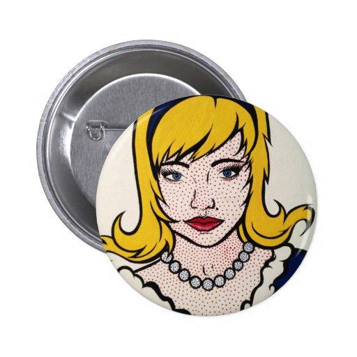 Pop Art button of a women