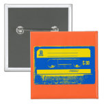 Pop Art Cassette Tape Graphic in Yellow & Blue Buttons