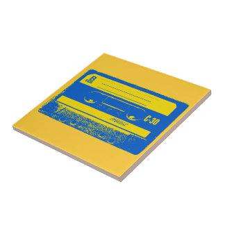 Pop Art Cassette Tape Graphic in Yellow Blue Tiles