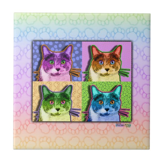 Pop Art Cat Ceramic Tile