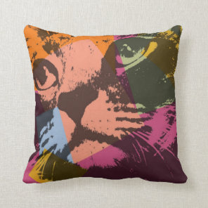 Pop Art Cat Face Cushion