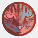Pop Art Cat Face Round Sticker