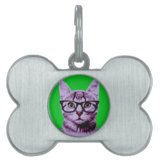 Pop Art Cat Pet Name Tag