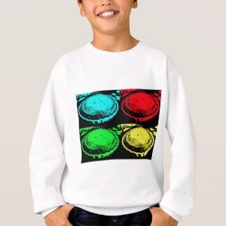 pop art cherry pie with a colourful pastry topping sweatshirt