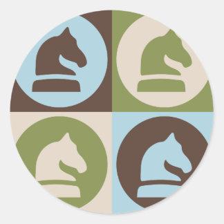 Pop Art Chess Round Sticker