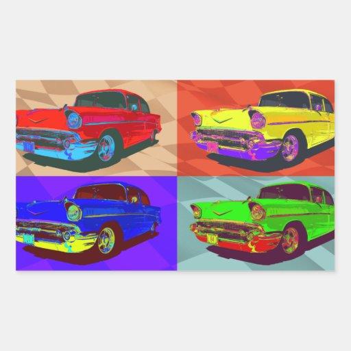 Pop art Chevy Belair illustration Rectangular Sticker
