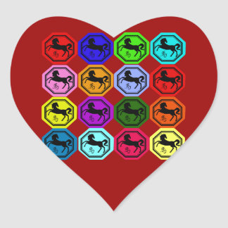 Pop Art Chinese Year of the Horse Heart Sticker
