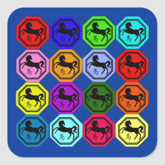 Pop Art Chinese Year of the Horse Square Sticker