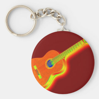 Pop Art Classical Guitar Key Chain