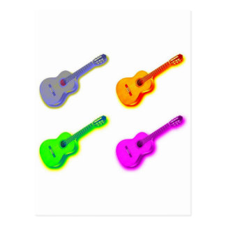 Pop Art Classical Spanish Guitar Post Cards