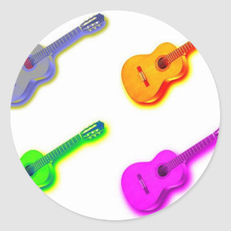 Pop Art Classical Spanish Guitar Round Sticker