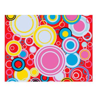 Pop Art Colour Circles Postcard