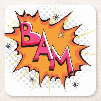 Pop Art Comic Bam! Square Paper Coaster