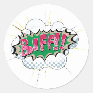 Pop Art Comic Biff Round Sticker