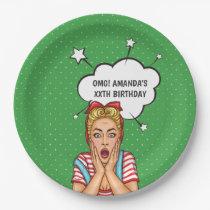 Pop Art Comic Birthday Party Paper Plate