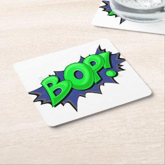 Pop Art Comic Bop! Square Paper Coaster