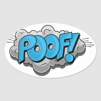 Pop Art Comic Poof! Oval Sticker