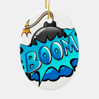 Pop Art Comic Style Bomb Boom! Ceramic Oval Decoration