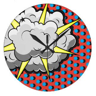 Pop Art Comic Style Explosion Large Clock