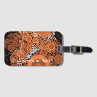 Pop Art Concentric Circles Floral Orange Luggage Tag