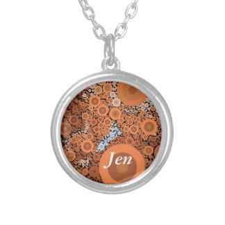 Pop Art Concentric Circles Floral Orange Necklace