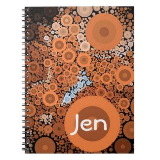 Pop Art Concentric Circles Floral Orange Notebook
