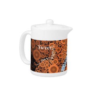 Pop Art Concentric Circles Floral Orange Teapot